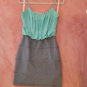 Teal Polka Dot Mini Dress